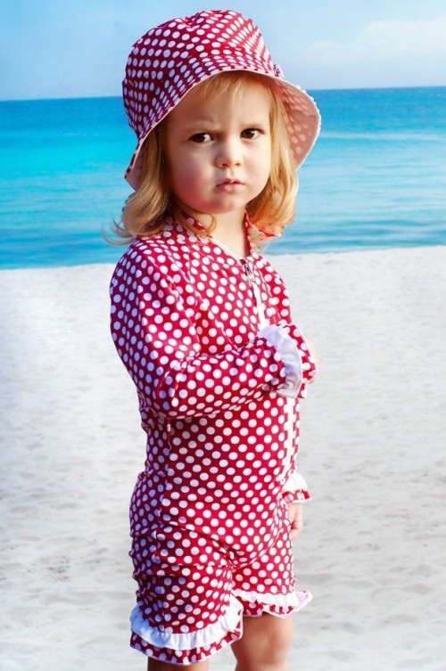 Raspberry Polka Dot Sunsuit by Tree Top Toy Shop